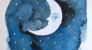 La Lune moon painting gouache by Layla Holzer