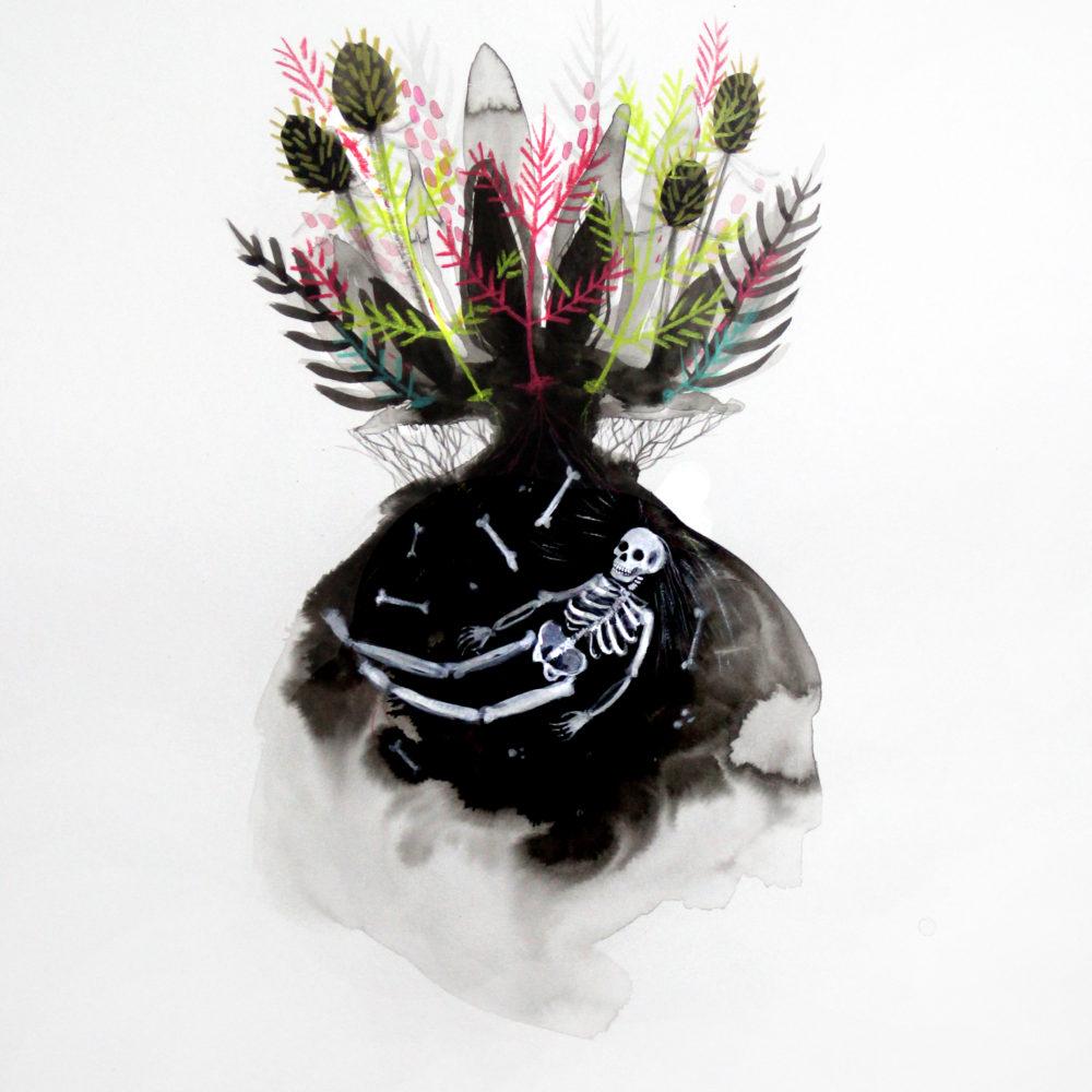 Bone Garden illustration in ink