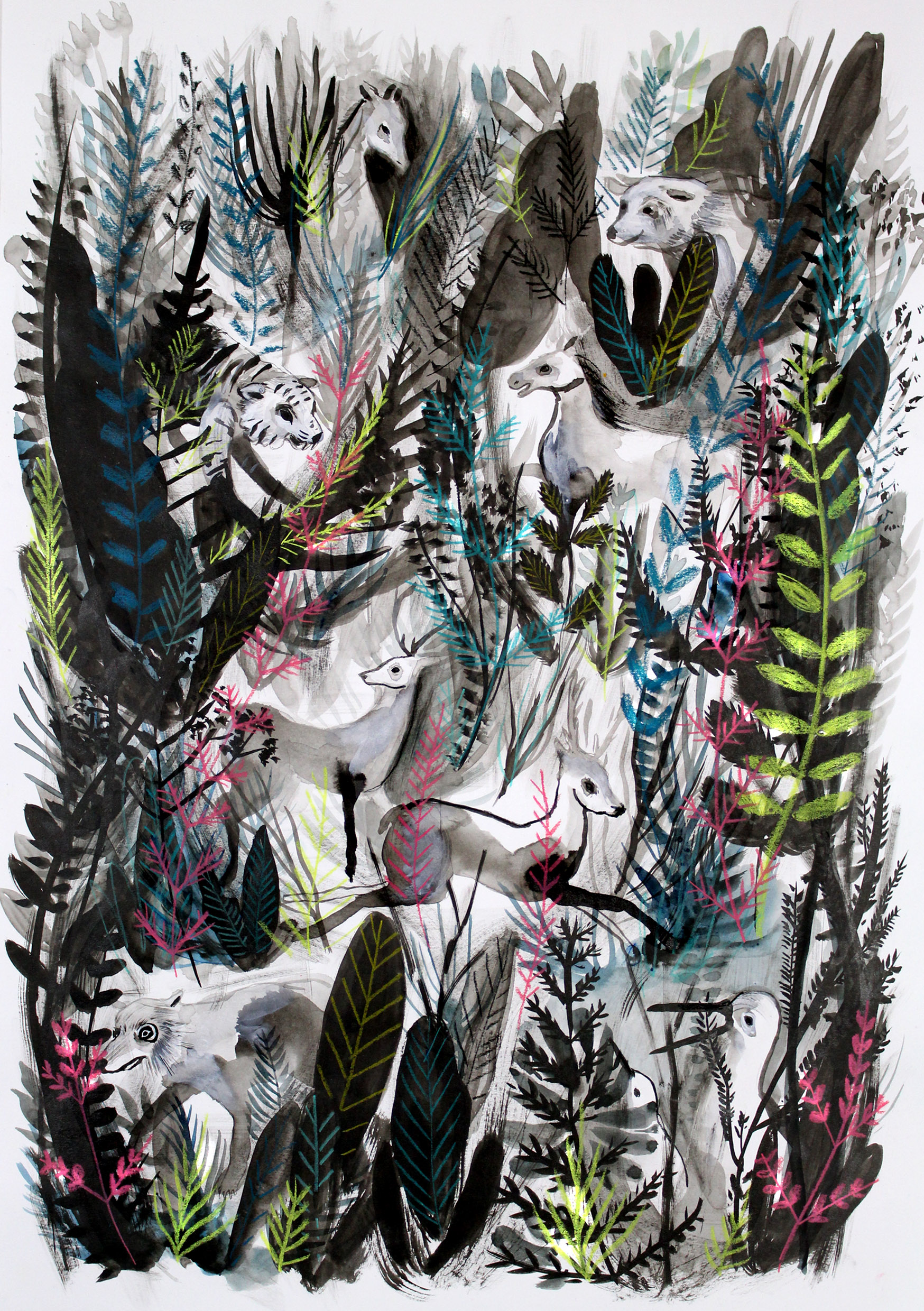 A world without humans, wild, jungle, nature, animals, plants, flora and fauna, overgrown. Ink painting for Ghost