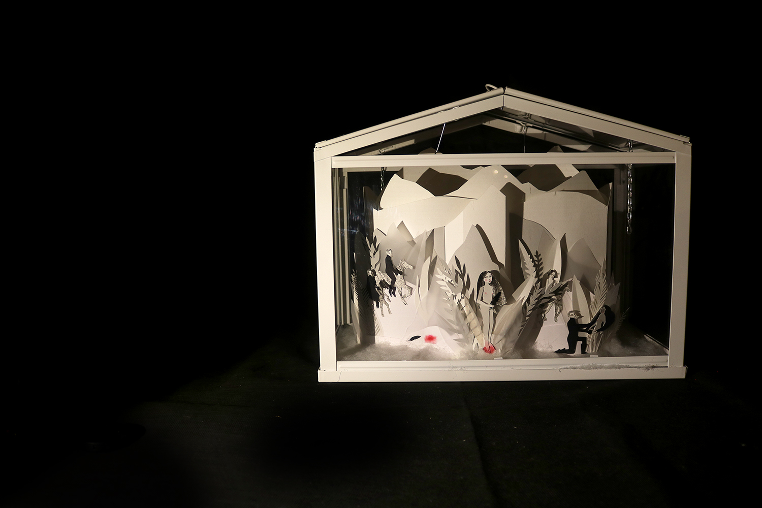 Papercut Illustrated Installation of the Snow Child by Angela Carter