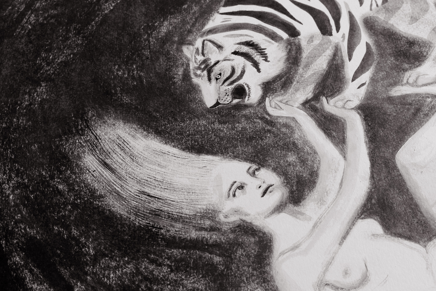 Ink Painting of The Tiger's Bride from Angela Carter's The Bloody Chamber (Detail)