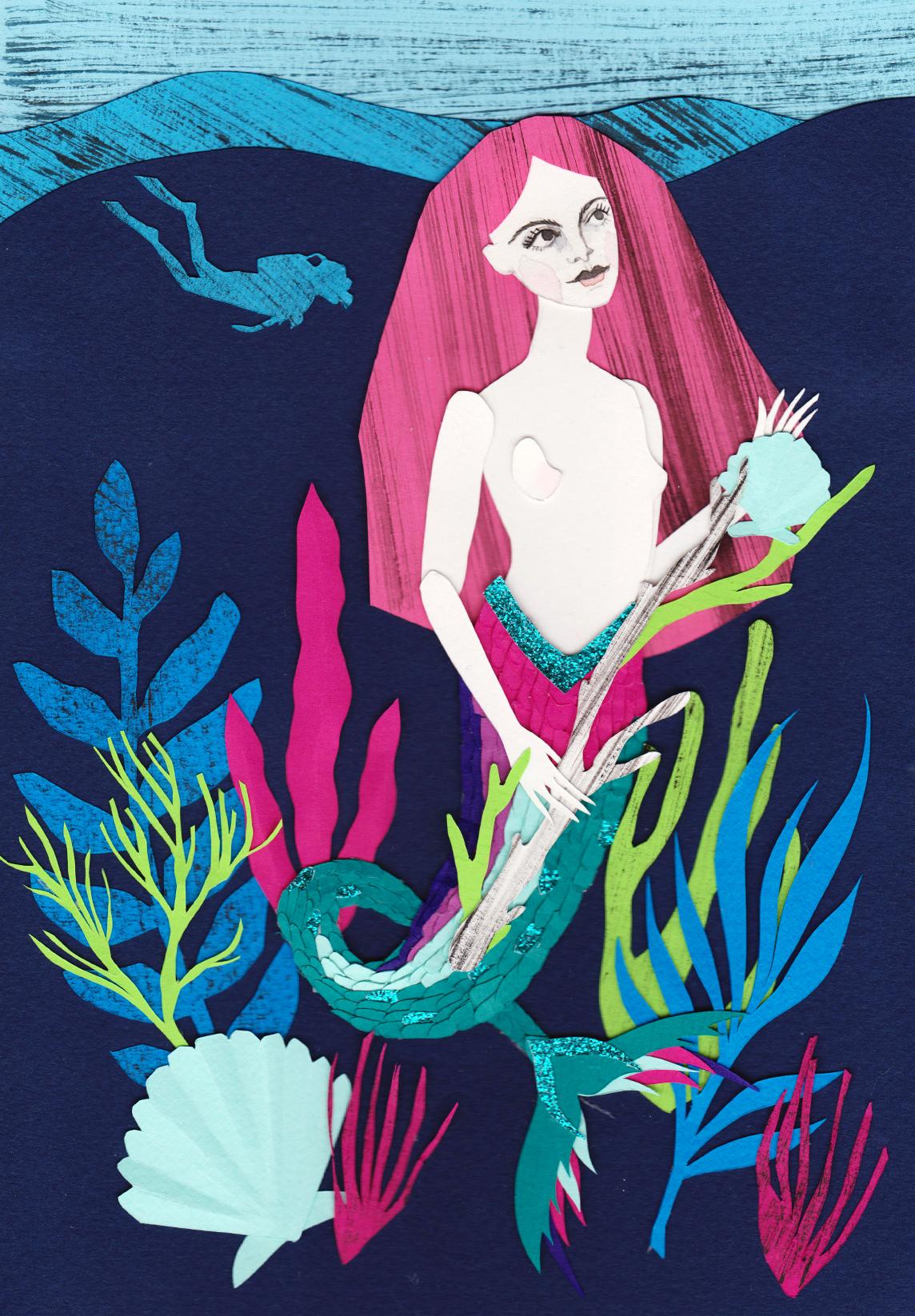 Mermaids Papercut Illustration
