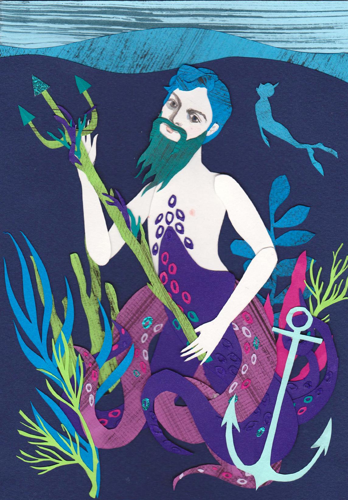 Neptune Papercut Illustration